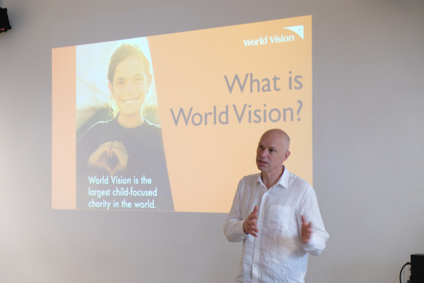 Reverend Andrew Morley sharing about World Vision.