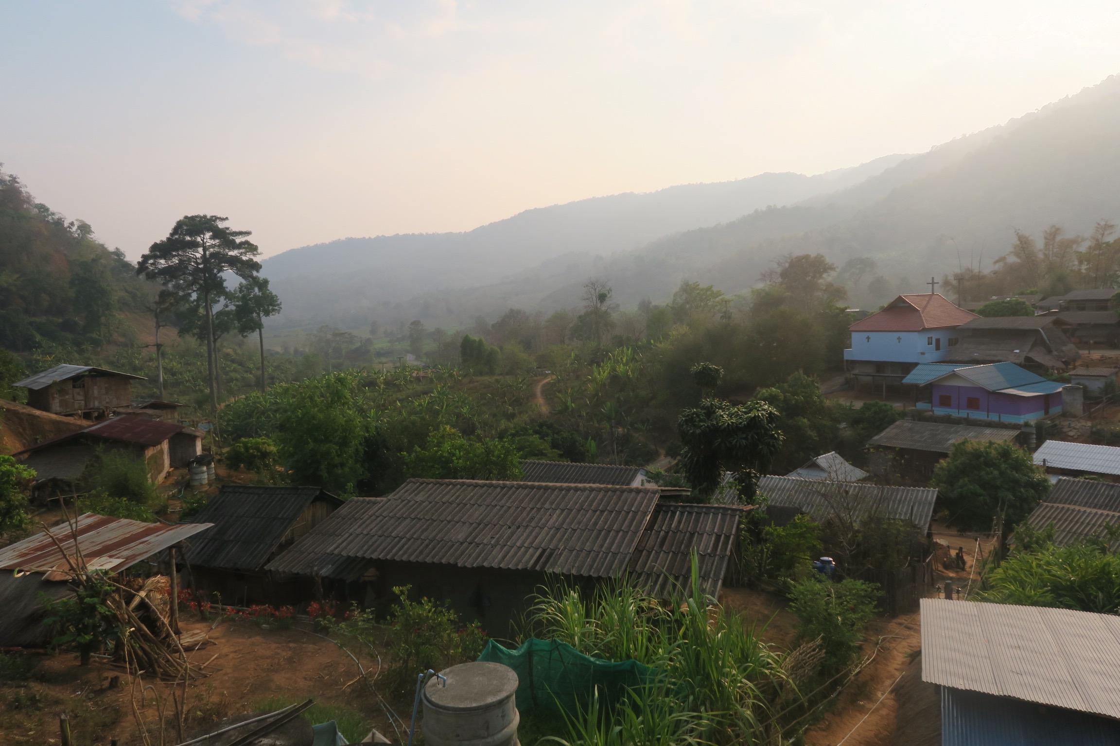 The Akha community village.