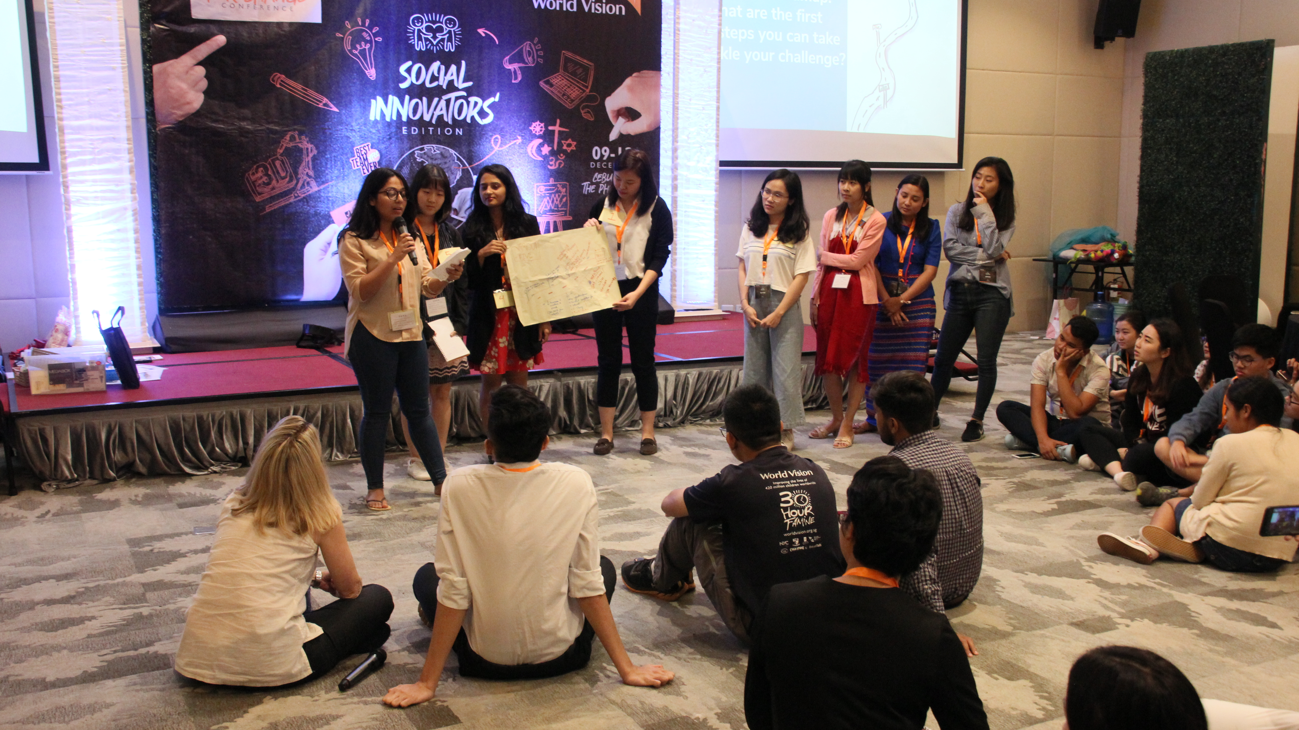 Youths sharing their proposals on how to innovate for good.