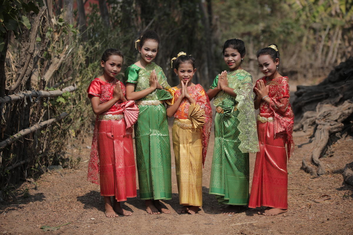Cambodian children in the local traditional costume