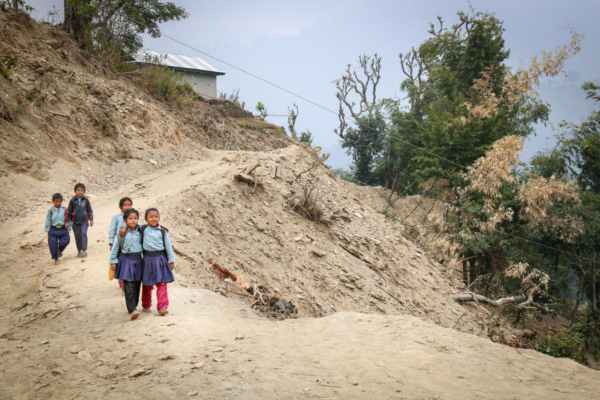 Children walking long and unsafe distances to school