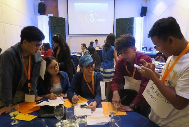 Youths taking part in Matthew's workshop.