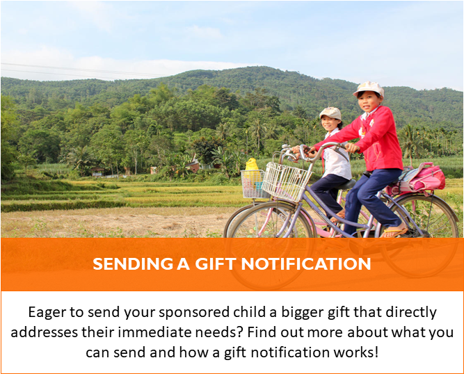 Send your sponsored child a gift, locally, that addresses their immediate needs!
